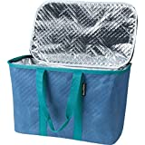 CleverMade SnapBasket Thermo 30 Liter Reusable Tote Bag with Reinforced Bottom: Collapsible Grocery Shopping Basket, Dusty Blue/Dusty Teal