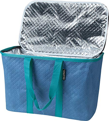 CleverMade 7020-0036-0075 Snap Basket Reusable Grocery Shopping Bag - Large Collapsible Thermal Insulated Tote with Zipper Top Lid, Dusty Blue/Dusty Teal