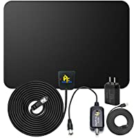 Pigflytech Ultra-thin Amplified Indoor HDTV Antenna-50 Mile Range for Digital HDTV with USB Power Supply- Builtin Amplifier Signal Booster for UHF VHF and 16.5 Feet(5m) Coaxial Cable