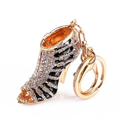 Creative High Heel Shoes Keychains Rhinestone Keyring Women Handbag Key Holder - Black Ameesi from Ameesi