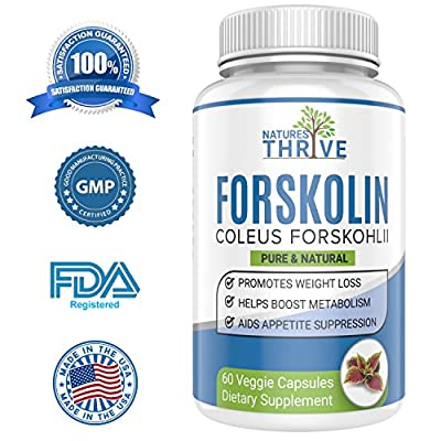 Natures Thrive MAX POTENCY Forskolin- GMP Certified, FDA Approved 250mg Forskolin Diet Pills- 60 Veggie Capsules Of 100% Natural Weight Loss Forskolin Supplement- Fast Fat Breakdown, Metabolism Boost