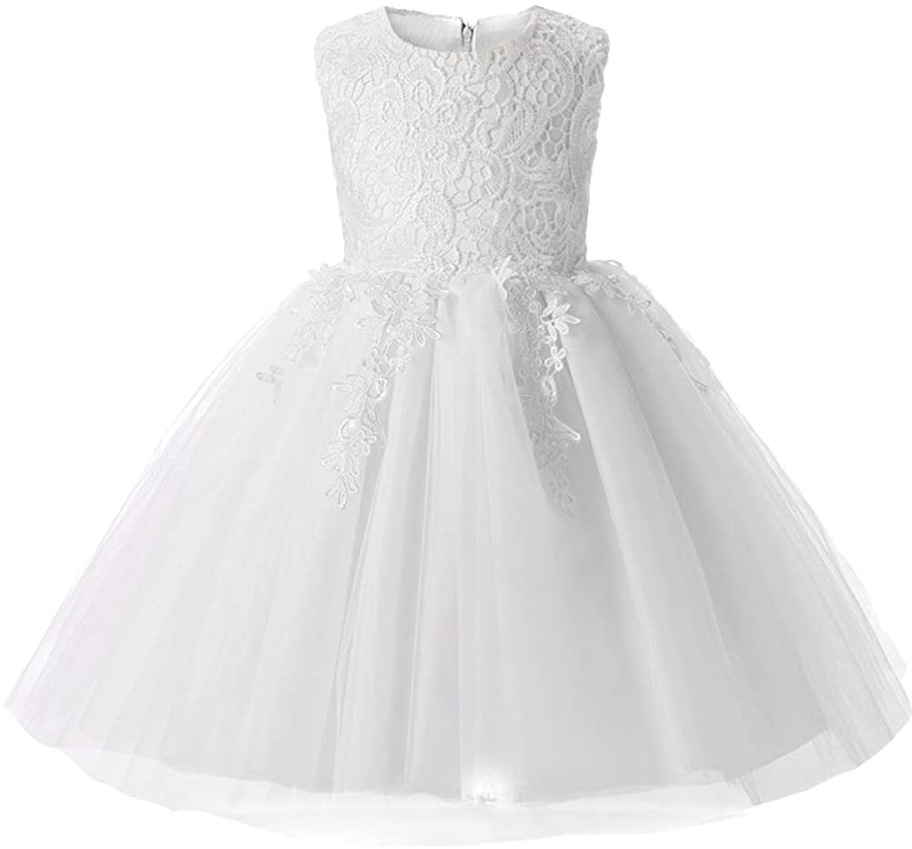 Mallimoda Girl's Lace Tulle Flower Princess Wedding Dress for Toddler and Baby Girl