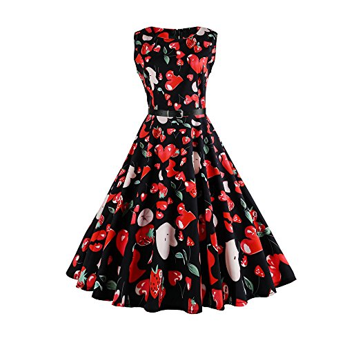 50S Retro up Dresses Elegant Dress Knee Long Women Type Evening Floral Length Birdfly 98 Print for ISwEdqI