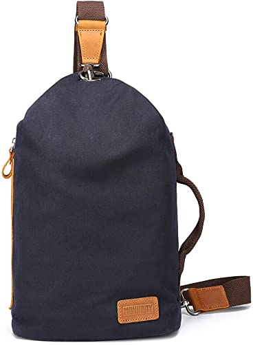 Sling Bags For Men Waxed Canvas Leather Casual Daypack Crossbody Backpack Shoulder Chest Tote Bags Grey
