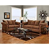 Roundhill Furniture Aruba Microfiber Pillow Back Sofa and Loveseat Set, Chocolate