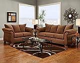 Roundhill Furniture Aruba Microfiber Pillow Back Sofa and Loveseat Set, Chocolate