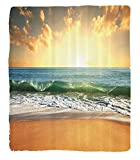 Chaoran 1 Fleece Blanket on Amazon Super Silky Soft All Season Super Plush Ocean Decor Collectionunset at amoothy Beach withmall Wave Bubbles from theea View Picture Fabric Teal Ivory Beige