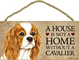 (SJT63922) A house is not a home without a Cavalier (King Charles Spaniel) wood sign plaque 5