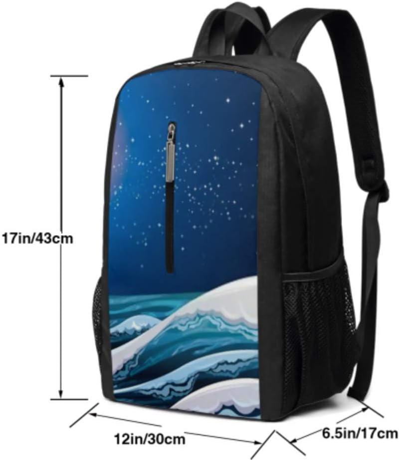 Night Sea Waves On Starry Sky 17 Inch Laptop Casual Rucksack Waterproof School Backpack Daypacks,Back Pack Unisex Backpack
