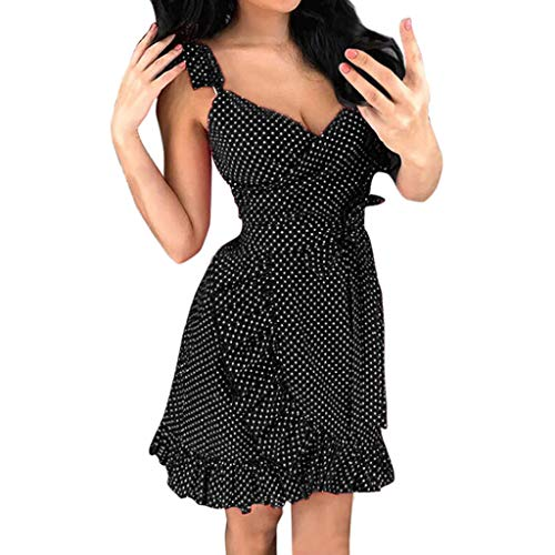 Yxiudeyyr Summer Dresses for Women Polka Dots Cross Over V-Neck Sleeveless Above Knee Wrap Dress Black
