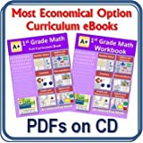 1st, First Grade Math Curriculum Bundle - Lessons eBook (PDF) and Workbook (PDF) on CD (100 Lessons, 100 Worksheets, 14 Tests, Answer Keys For Homeschool or Classroom)