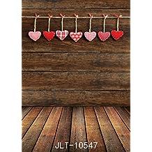 SJOLOON 5x7ft Vinyl Photography Background Photo Backdrops Dark Wood Floor Valentine's Backdrop Studio Props 10547