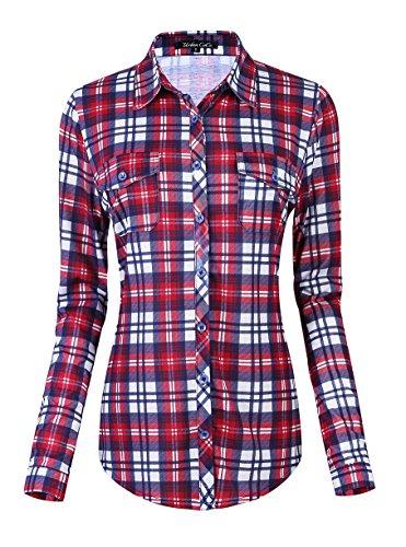 - Urban CoCo Women's Classic Plaid Shirt Button Down Long Sleeve Blouse (S, 4)