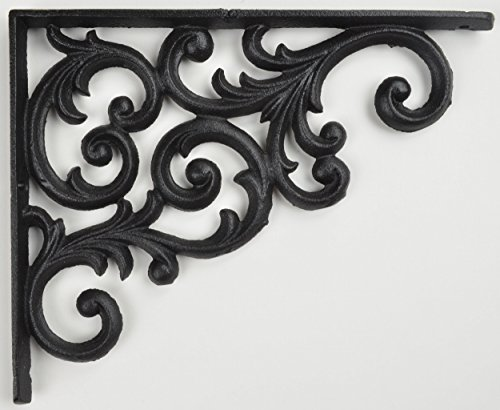 Shelf Bracket Black Cast Iron Ornate Vine Pattern 9.375
