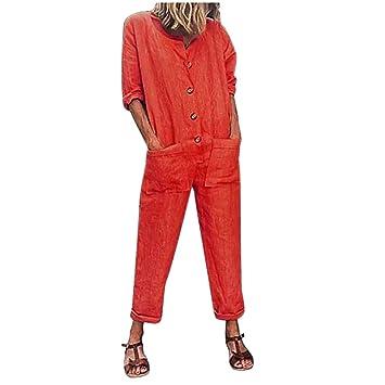 Monos Verano para Mujer SUNNSEAN Pantalones de Lino Casual ...