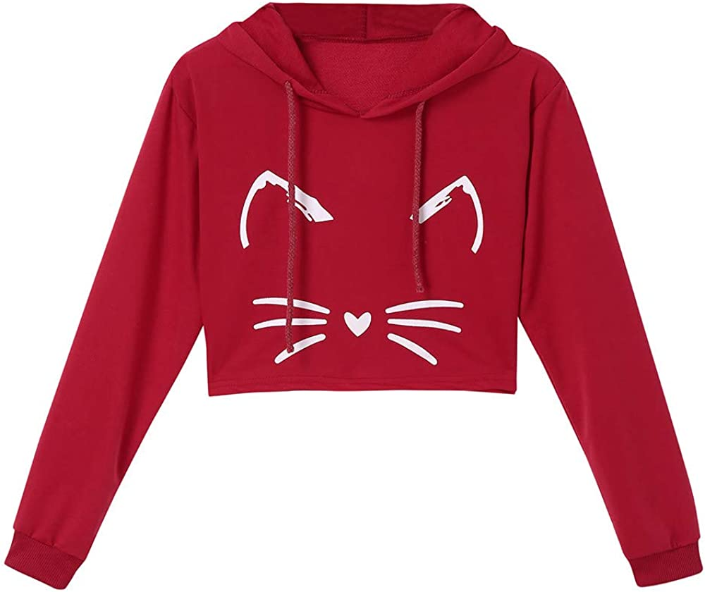 Womens Hoodie Pullover Hessimy Women Girl Hoodies Cute Cat Ear Novelty Printed Pullover Sweatshirt