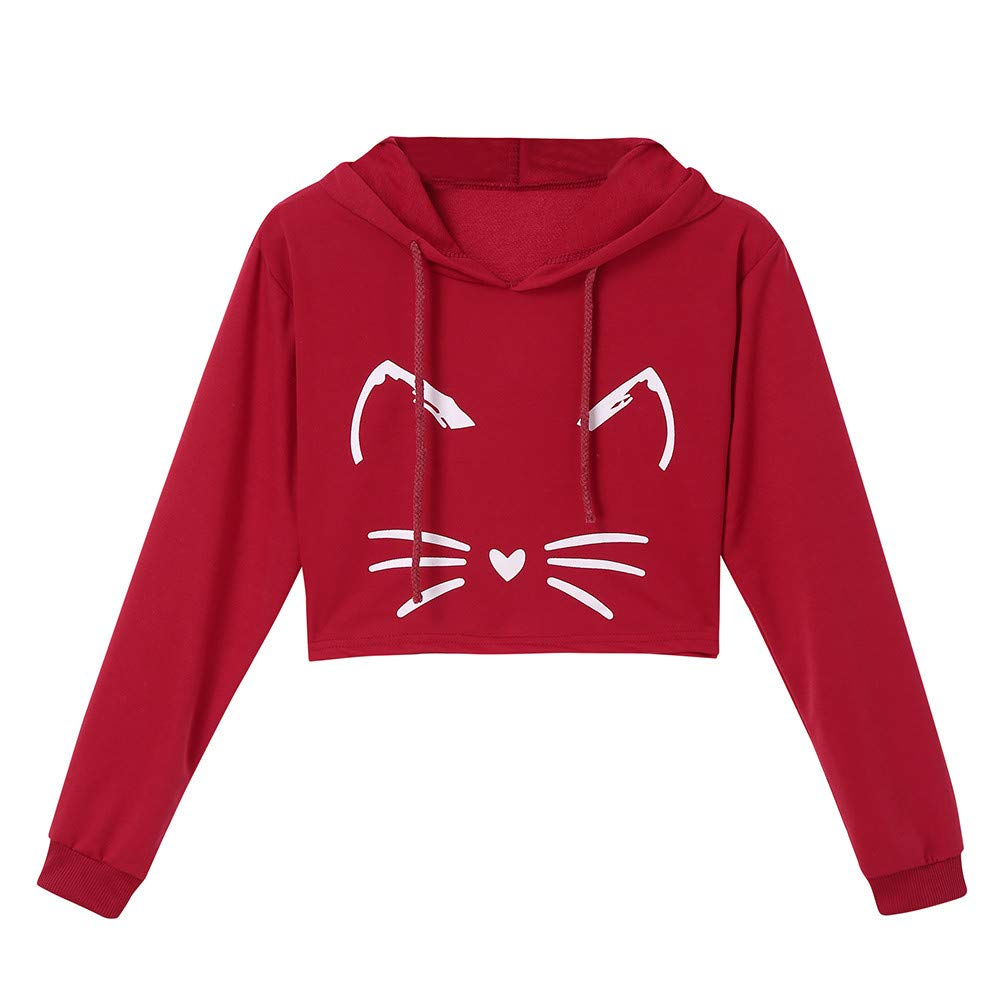 Fashion Womens Cat Ear Solid Long Sleeve Hoodie Sweatshirt Hooded Pullover Black Croptops Blouse at Amazon Womens Clothing store: