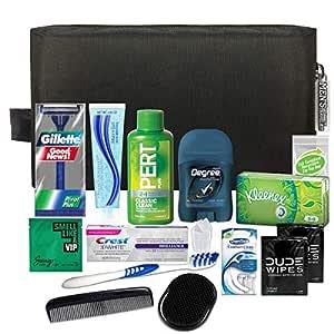 Convenience Kits International Men's Premium 15 Piece Assembled Travel Kit Featuring: Gillette Disposable Razor and Crest Toothpaste