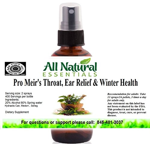 Pro Meir's Throat, Ear Relief & Winter Health 2oz Homeopathic Remedy Soothe Sore Throat, Cough, Cold, Stuffy Nose, Chest/Nasal Congestion, Immune Support, Breath Ease, Mucus,Cough Suppressant, (Bronchitis Cough Suppressant)