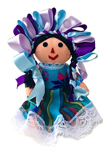 Alkimia Inc Mexican Handmade Traditional Maria Rag Doll - 7 inches - Blue