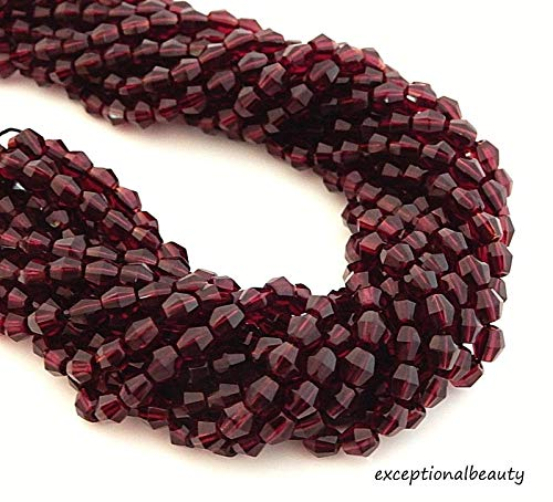 (600 Garnet Red Preciosa Czech Fire Polished Glass 4mm Faceted Bicone Bulk Beads )