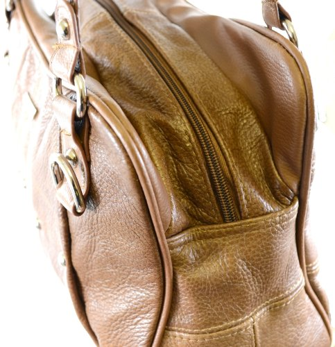 Real cuero aspecto Vintage bolso de hombro bolso con diseño plisado (color marrón, marrón, negro, rojo, morado o rojo) beige marrón