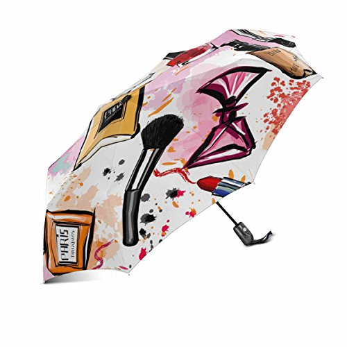 InterestPrint Girly Watercolor Cosmetics Perfumes Lipstick Nail Polish Brush00% Polyester Pongee Windproof Fabric Travel Umbrella, Compact Automatic Open and Close Folding UV and Rain Umbrella ()