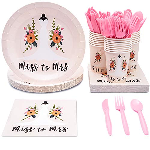 Bridal Shower Supplies Cheap (Juvale Bridal Shower Party Supplies - Serves 24 - Includes Plastic Knives, Spoons, Forks, Paper Plates, Napkins, and)