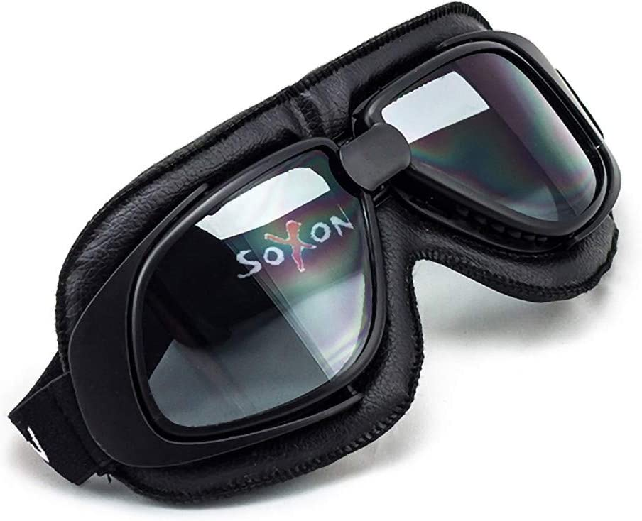 "SOXON/® SG-300 /""Night/"" /· Jet-Brille /· Motorrad-Helm Flieger-Brille Retro Roller Scooter Cruiser Oldtimer Vespa Ski-Brille /· BLACK SILVER CLEAR RAINBOW"