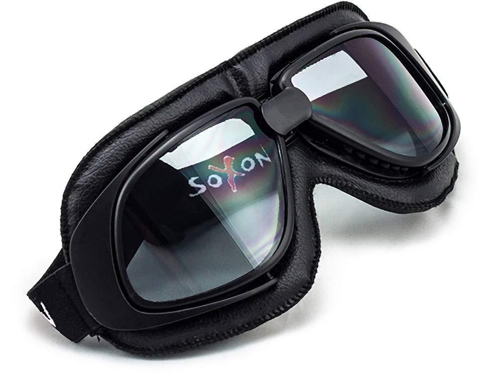 SOXON SG-300 Night Vespa Vintage Goggles Biker Scooter Piloto Casco Ski Cruiser Occhiali Jet Oldtimer Moto Sport, Design in Pelle, Nero/Nero, Taglia Unica Soxon Helme - UK SOXON Jet Brille
