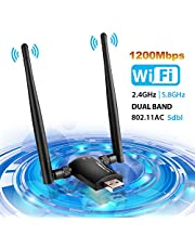 Wifi Dongle , Wifi Adapter 1200Mbps Wireless Adapter USB 3.0 Dual Band Detachable Wifi Antenna 5GHz 866Mbps + 2.4GHz 300Mbps Wifi Stick for PC/Desktop/Laptop/Tablet Support Window XP/Vista/7/8/10 Mac