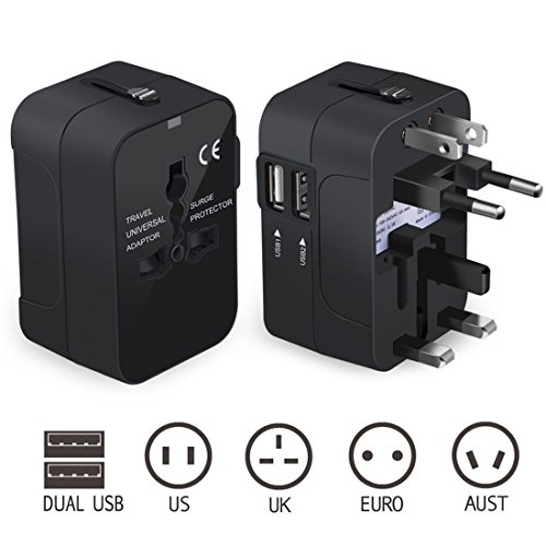 CFTech Travel Adapter All in One International Power Adapter USB Wall Charger AC Plug Converters with Dual USB Charging Ports for USA EU UK AUS (Black)