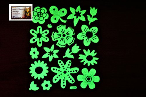 PertidStar Glow In The Dark Stars Wall Stickers Flower Cute for Starry Sky, Perfect For Kids Bedding Room or Birthday Gift ,Beautiful Wall Ceiling Decals Perfect For Baby Nursery Bedroom Decor,Set 08 (Free Crochet Pattern Teddy Bear)