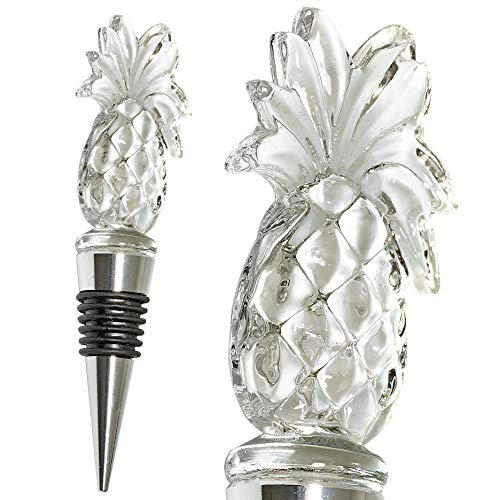 (Glass Pineapple Wine Bottle Stopper - Decorative, Colorful, Unique, Handmade, Eye-Catching Glass Wine Stoppers - Wine Accessories Gift for Host/Hostess - Wine Corker/Sealer)