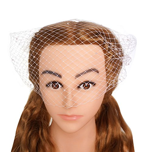 - Blank K Women Wedding Bridal Pearl Birdcage Face Veil Evening Veils with 2 Combs (Pink)