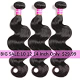 "Brazilian Body Wave 10"" 12"" 14'' Virgin Hair 3 Bundles 8A 100% Unprocessed Virgin Human Hair Bundles Weave Extensions Natural Black Color Remy Hair"
