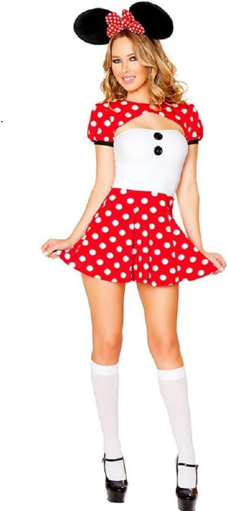 Nuevas mujeres 3 piezas blanco y rojo Minnie Mouse Disney disfraz ...