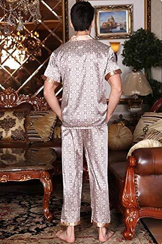 corta confortevole leggeri vestiti casa Momma estate Grau3 manica bagno due Pigiama uomo lunga pezzi ZES4w88Xq