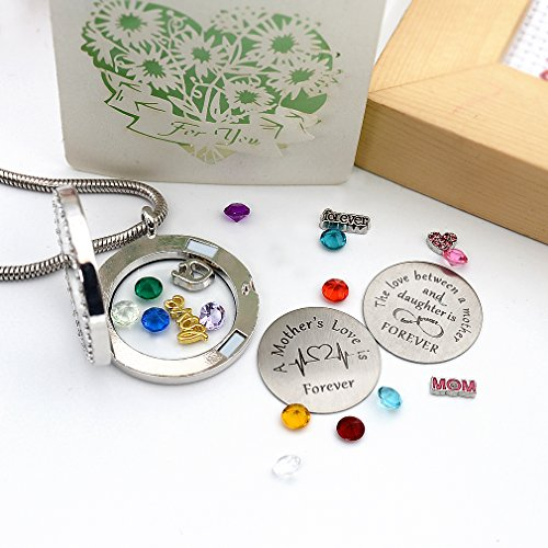Beffy Daughter or Mom Love Gift, Memory Floating Locket Pendant Necklace with Birthstones & Charm for Morther Mom Mammy Mama or Girls by Beffy (Image #6)