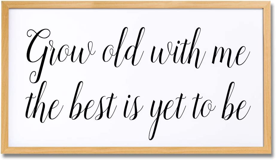 EricauBird Wood Sign Grow Old with Me The Best is Yet to Be Wood Home Decor Sign Fixer Upper Style Sign Farmhouse Style Wood Sign Kitchen Decor,Decorative Home Wall Art,12x22