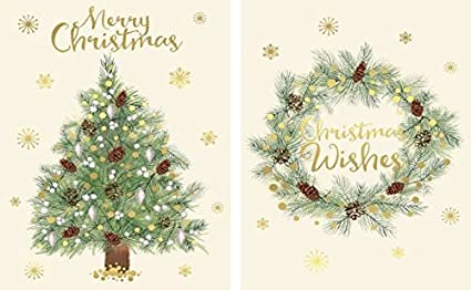 pack of 18 modern charity christmas cards xmas tree wreath gold snowflakes