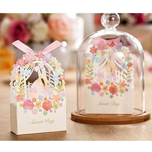 Saasiiyo 50 Pieces Sweet Wedding Favors And Gifts Box Garden Laser Elegant Luxury Decoration Party Event Supplies Paper Chocolate Bags For vacationers - Costume Design Classes San Diego