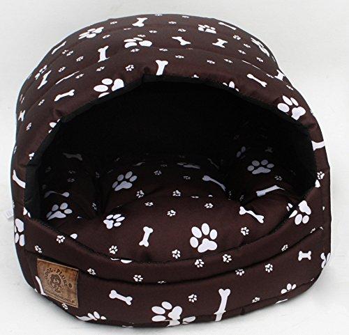 Hundehöhle Katzenhöhle Hundehütte Hundehaus Katzenbett Katzenkorb Nr. 3 (Muster: Pfötchen braun)