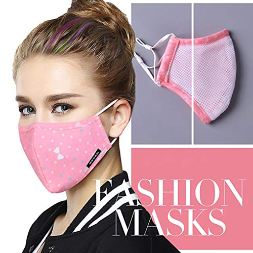 Tvoip Fashion Style Mask On The Mouth Anti dust mouth mask Activated Carbon Filter Mouth-muffle Mask (One Mask + 2 Filters) Anti PM2.5 Fabric Face Mask (Pink)