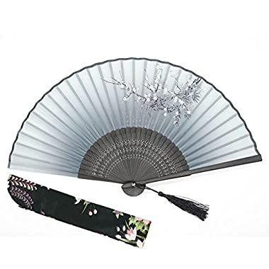OMyTea®  Cold Plum  8.27 (21cm) Women Hand Held Folding Fans with Bamboo Frame - With a Fabric Sleeve for Protection for Gifts - Chinese / Japanese Vintage Retro Style (WDJ-01-Gray)