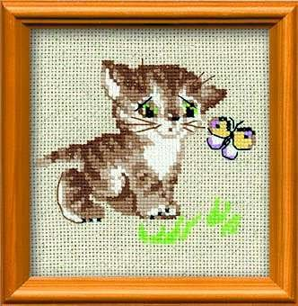 RIOLIS 1049 - Kitten with butterfly - Counted Cross Stitch Kit - 6