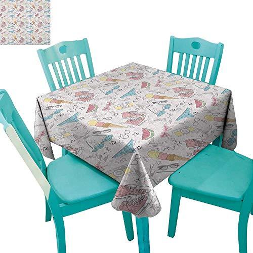 longbuyer Teen Room,Washable Tablecloth,Girlish Sunglasses Camera Ice Cream Underwear Watermelon Modern Graphic Print,54
