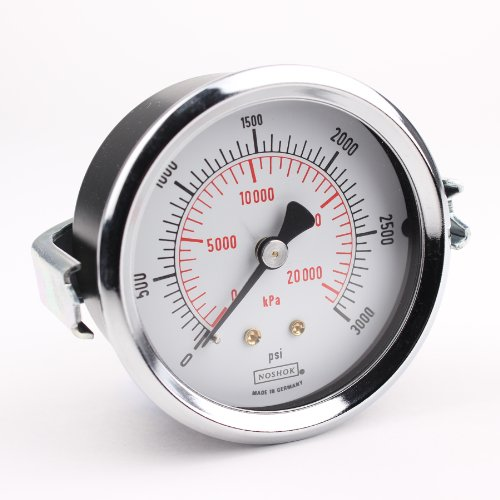 NOSHOK 100 Series Steel Dual Scale Dial Indicating Pressure Gauge with Panel Mount, 2-1/2