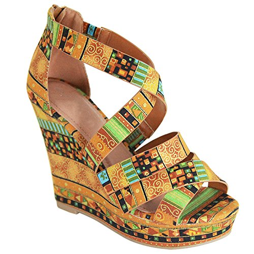 Womens Wedge Platform Sandals Gladiator Criss Cross Ankle Strap High Heeled Summer Shoes GD13 Camel Multi (Multi Wedge Sandal)