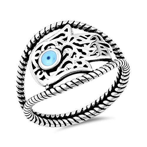 Sterling Silver Hamsa Ring - Sideways Hand of God Filigree Hamsa Ring .925 Sterling Silver Band Size 10